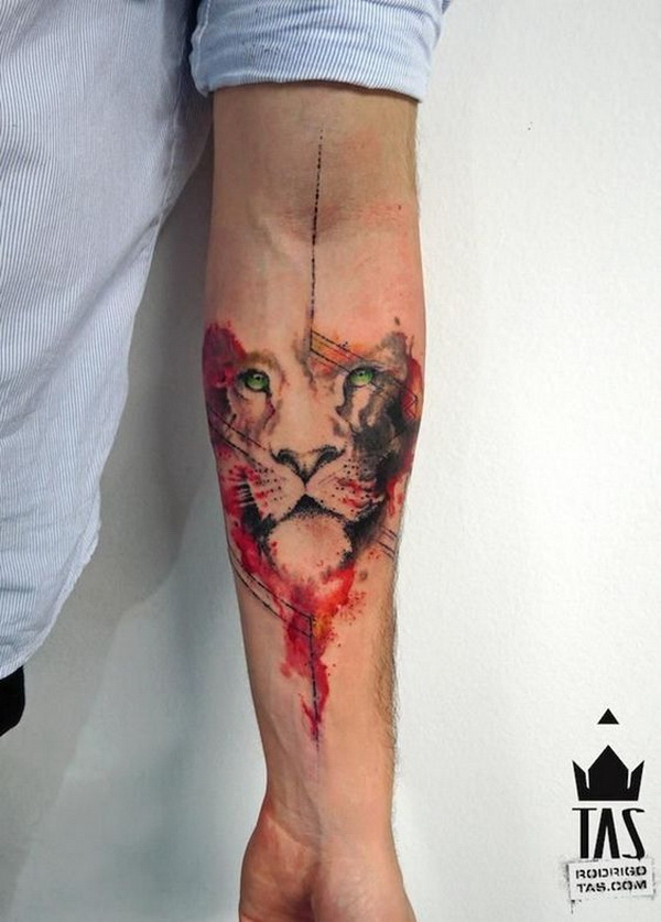 Wolf Watercolor Tattoo Design for Men.