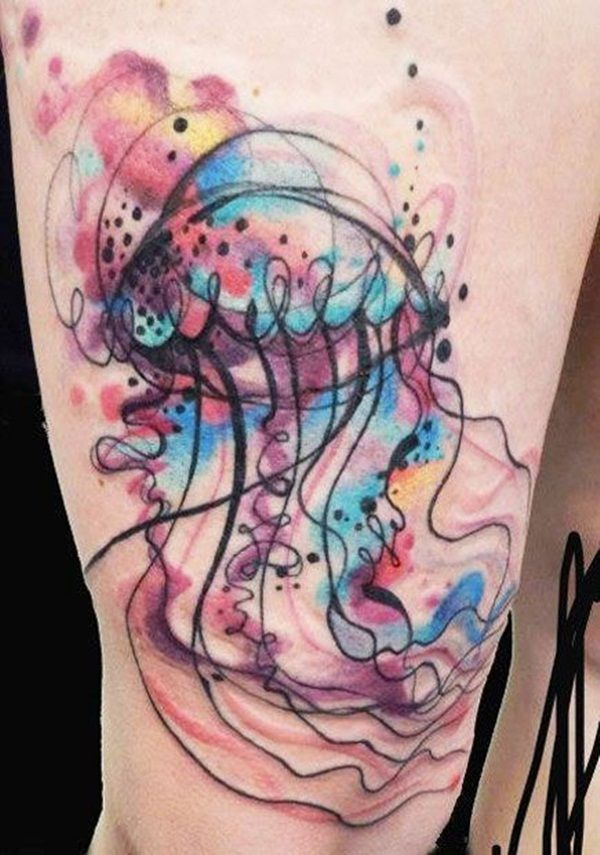 Sweet Jellyfish Watercolor Tattoo.