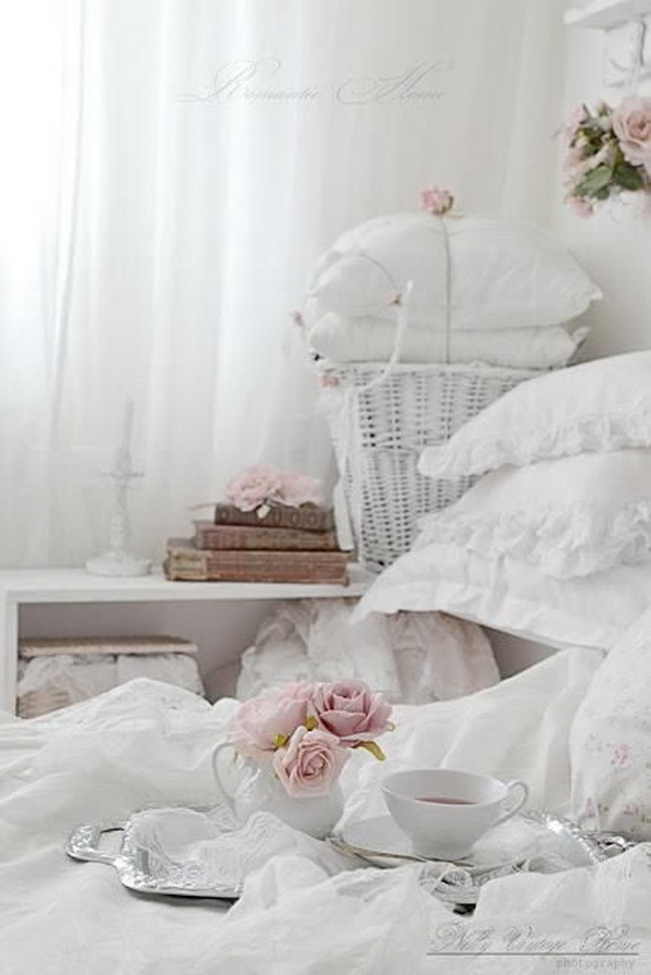 Romantic Shabby Chic White Pink Bedroom.