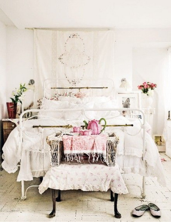 Whitewashed Shabby Chic Bedroom Decorating Idea.