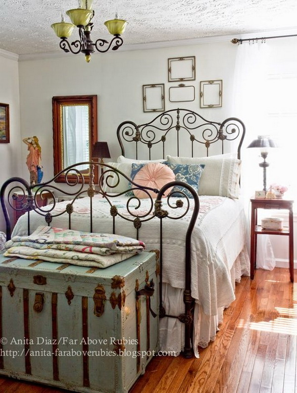 Vintage Country Styled Bedroom With Vintage Chenille Bedspread Around The  Antique Iron Bed