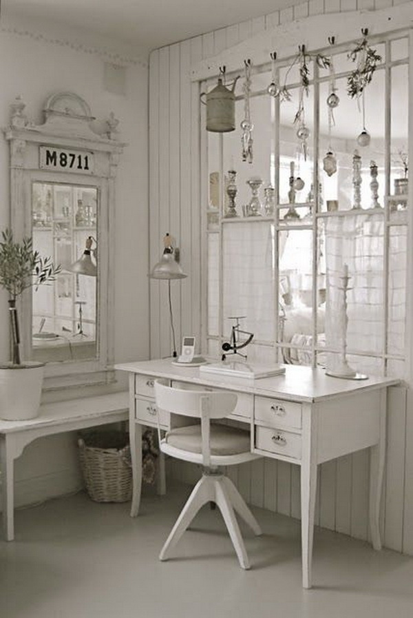 A Work Area in Bedroom with White on White Shabby Chic Look.