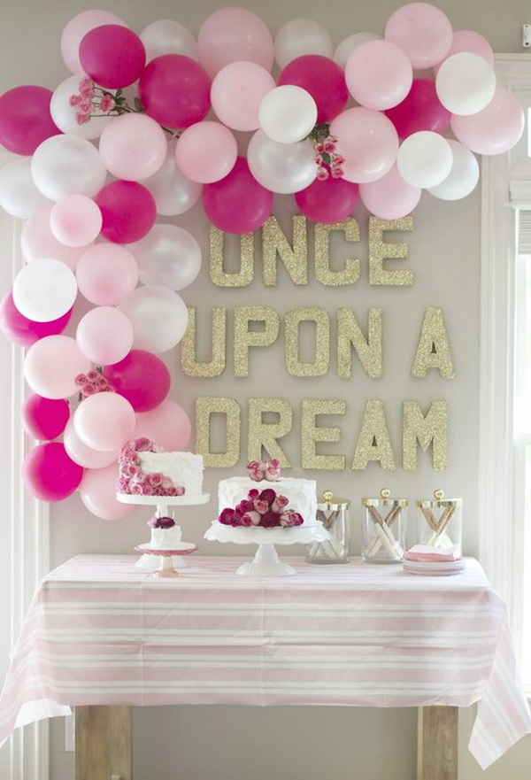 Pink Themed Balloon Decoration For Birthday Party