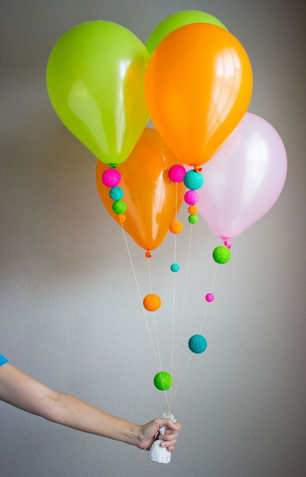 Fun Way to Decorate Balloons with Pretty Foam Balls.