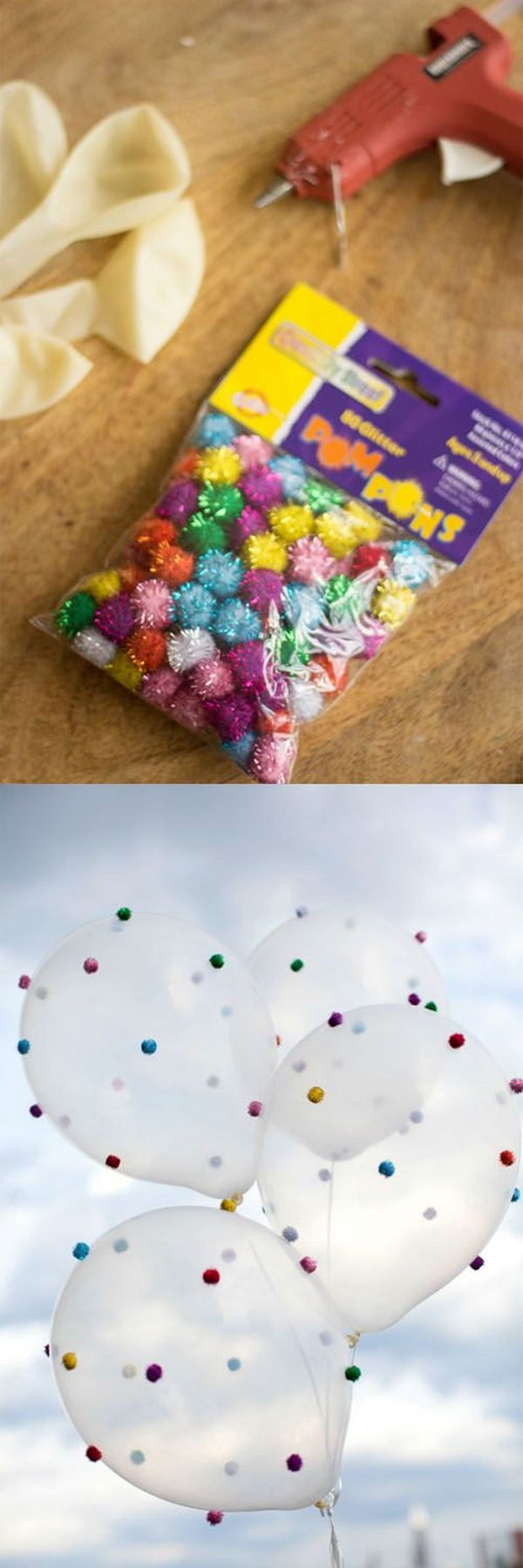 Mini Pom Pom Decorated Balloons.