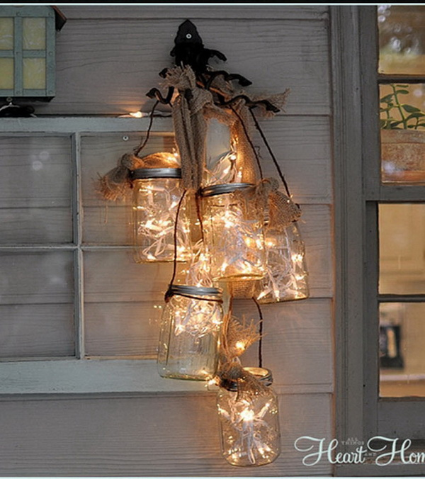 DIY Mason Jar Light. These mason jar night lights are so lovely and add a touch of rustic warm  to your outdoor. Easy and budget-friendly to make!