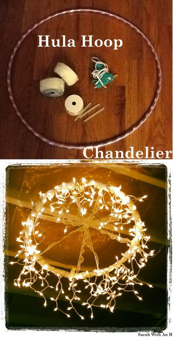 Hula Hoop Chandelier. Wrapped the lights around a hula hoop from the dollar store and covered up the purple and pink hula hoop with the lace as you like! Now you have this awesome hula hoop chandelier! Easy and super fun to make in several minutes!