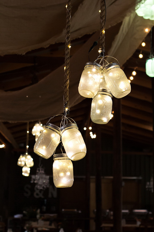LED Mason Jar Lights. Mason jars always make great decor for indoor and outdoor! Here combine the romantic and fairy LED lights with mason jars, and then you will have this stuuning lighting project for your outdoor summer night. These LED mason jar lights also make great dor for any party and wedding!