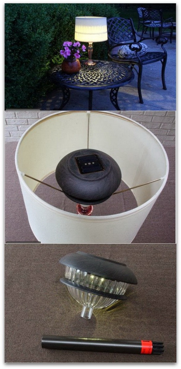 DIY Outdoor Lamp. This DIY lamp would be so cool and looks easy to do! It can bring the indoors outdoors with the warm glow during the summer night!
