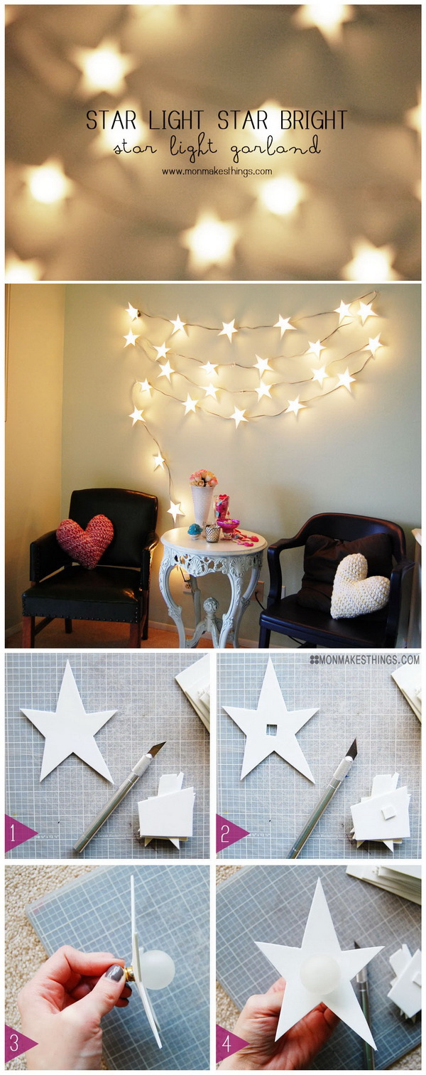 DIY Star String Lights Garland. Add a touch of warm glow and fairy flair to the room with these star strign light garland!