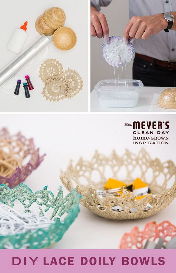 DIY Lace Doily Bowls. You can use them to store small makeup accessories or other odds and ends in a cute and colorful way. Easy and fun to make with some supplies, such as fabric stiffener and fabric paint.