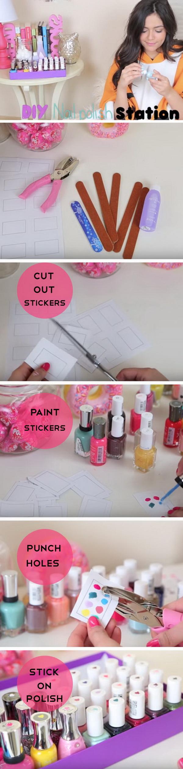 DIY Nail Polish Station. Easy access to your nail polish next time with this creative DIY!