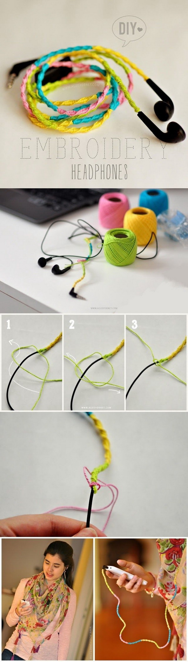 DIY Embroidery Headphones. Make your headphone unique by adding some color and a little personality to it. An easy DIY project that only takes a couple of minutes to make!