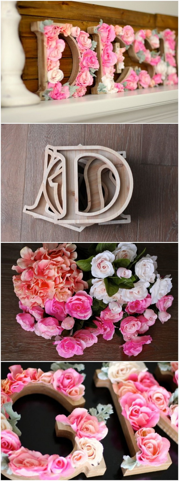 DIY Rustic Letters With Flowers: A Wood Sign With Flowers That Says DESIGN!  It