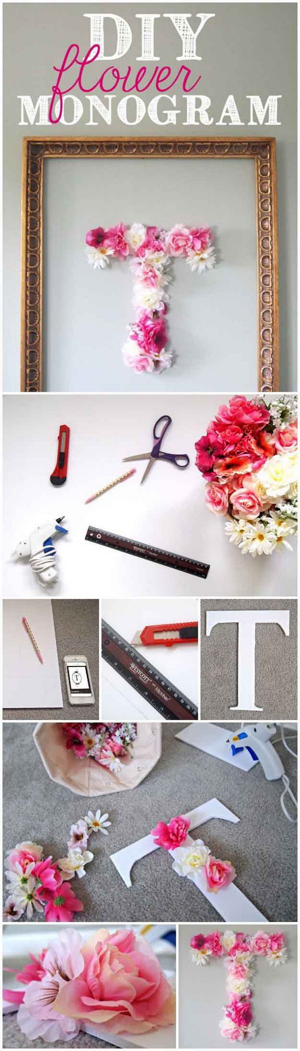 Diy room decor tutorials for teens - Diy Flower Monogram This Cute Monogram Made With Faux Flowers Is Easy And Fun To