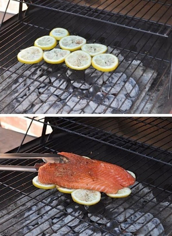 Keep Fish Sticking and Falling apart on a grill with Lemons.