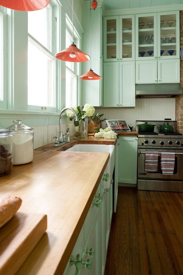 Refreshing Green Kitchen Cabinet Paint Color Ideas.