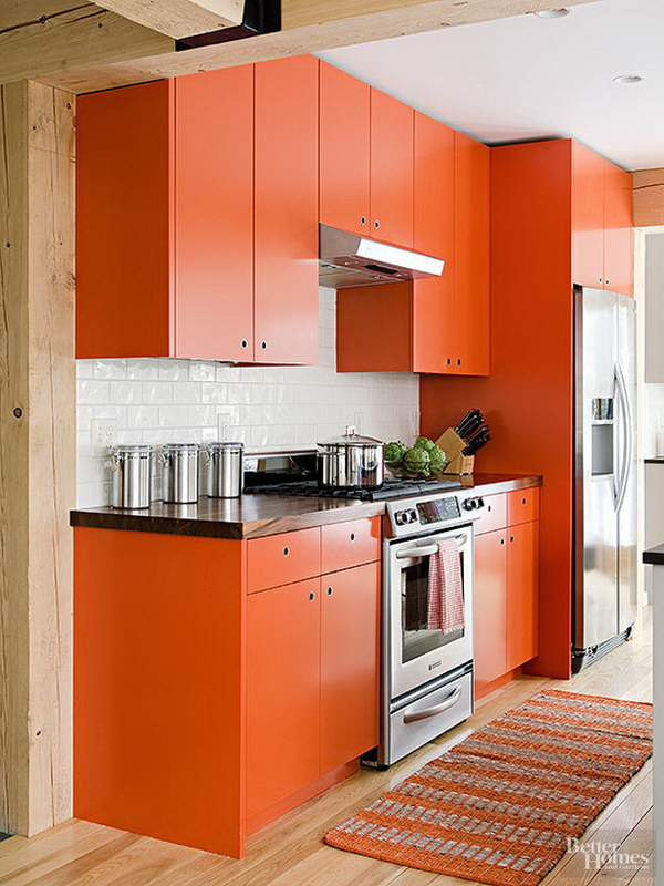 Funky Orange Kitchen Cabinet Paint Color Ideas.