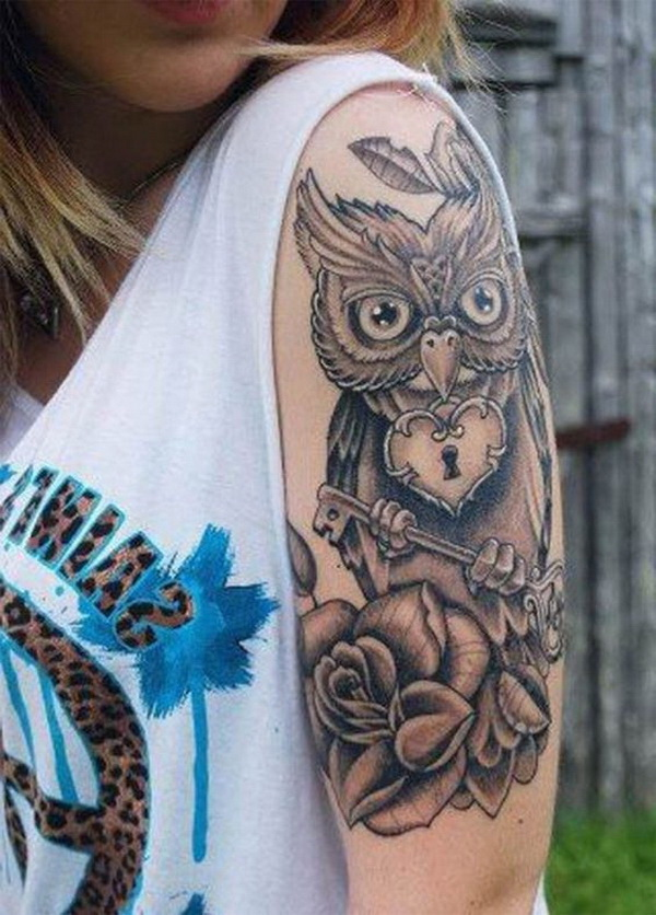 Owl Half Sleeve Tattoo Ideas for Women. More via https://forcreativejuice.com/attractive-owl-tattoo-ideas/