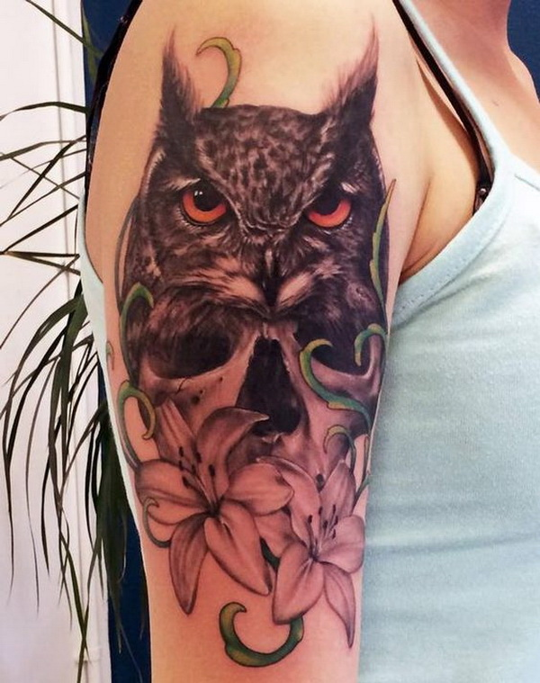 Black and Grey Owl and Flower Tattoo. More via https://forcreativejuice.com/attractive-owl-tattoo-ideas/