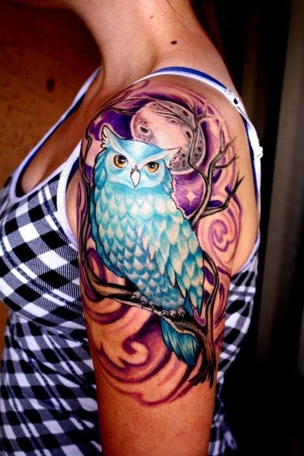 Owl Tattoo Design on Upper Sleeve. More via https://forcreativejuice.com/attractive-owl-tattoo-ideas/