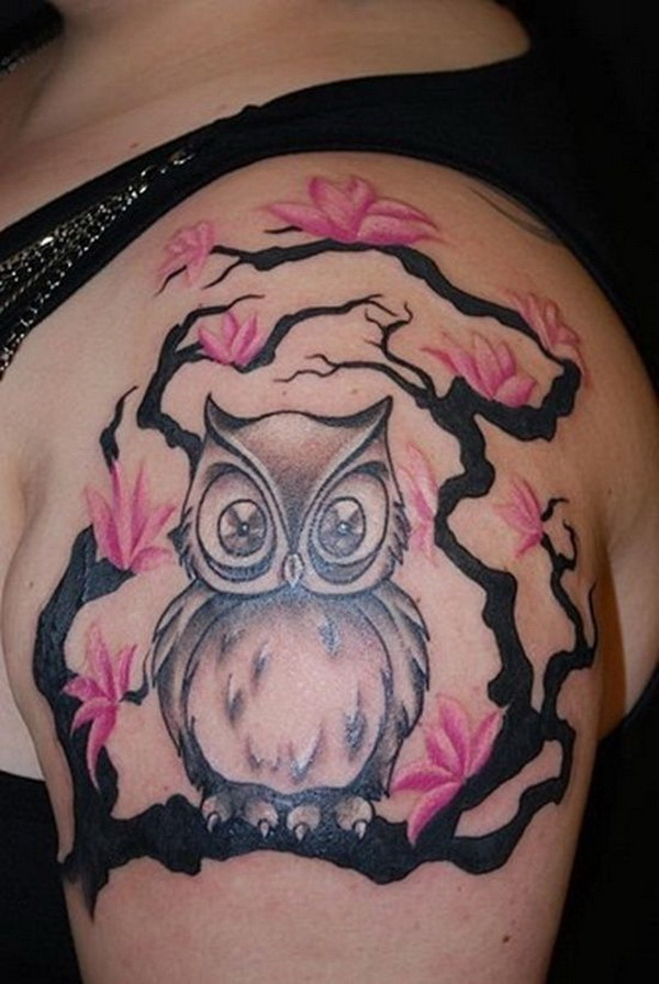 Pink Flowers and Owl Tattoo Design. More via https://forcreativejuice.com/attractive-owl-tattoo-ideas/