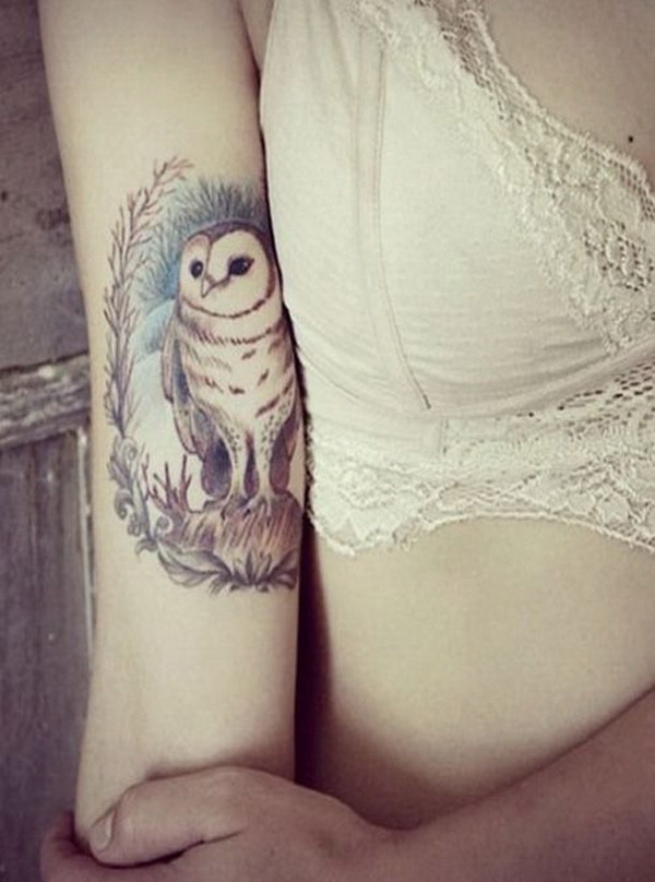 Pretty Owl Tattoo on Aarm For Girls. More via http://forcreativejuice.com/attractive-owl-tattoo-ideas/