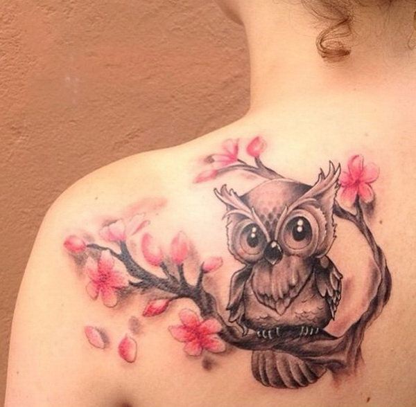 Owl and cherry blossom tattoo. More via https://forcreativejuice.com/attractive-owl-tattoo-ideas/