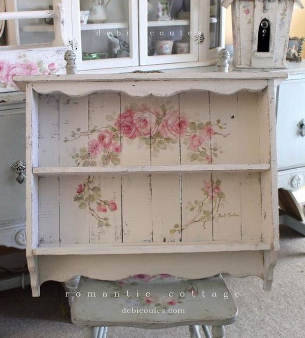 Vintage Shabby Chic Roses Shelf.