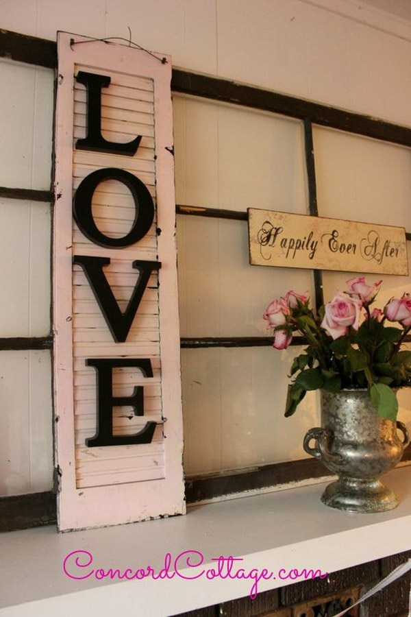 Old Shutter Turned Shabby Chic Wall Decor.