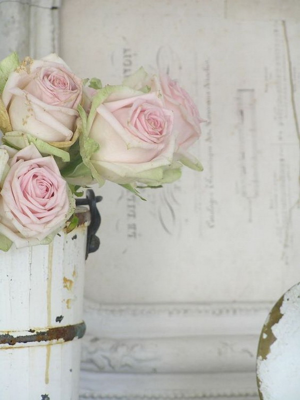 Shabby Chic Decoration with Fresh Flowers.