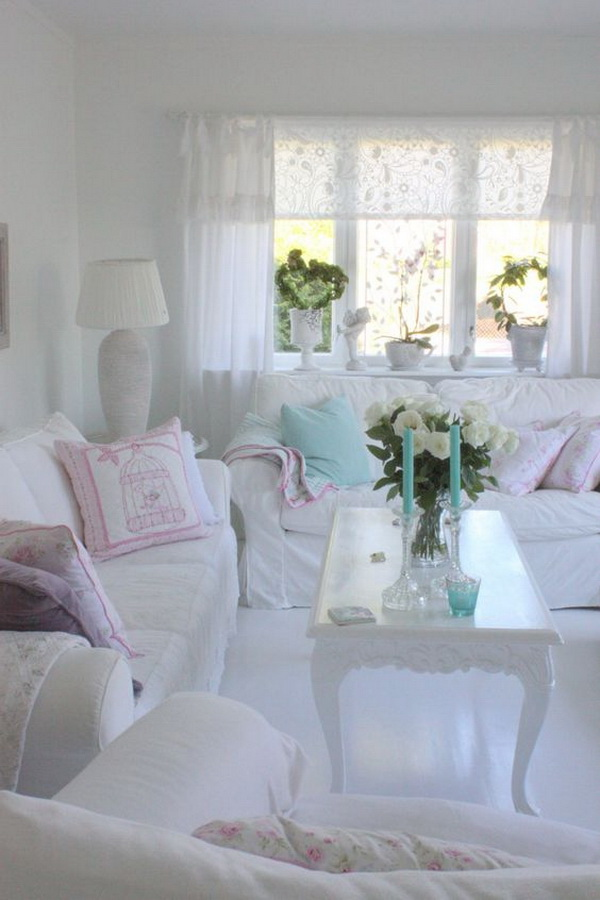 All-white Shabby Chic Living Room.