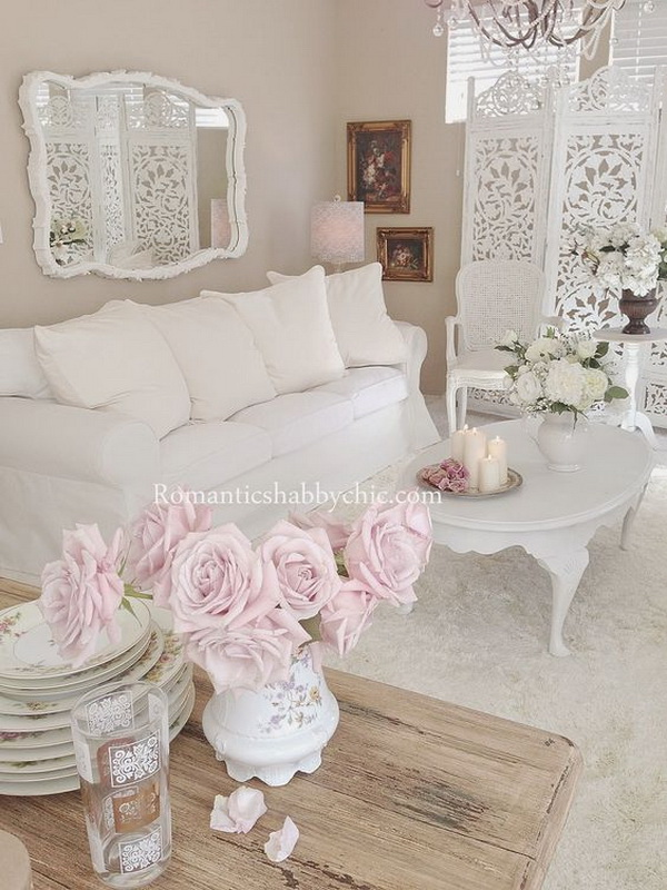 Romantic Shabby Chic Living Room Decorating with Pastel Fresh Flowers.