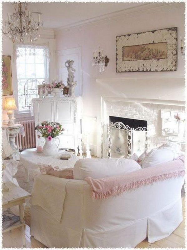 Shabby Chic White Room with Pink and Blush Touches.