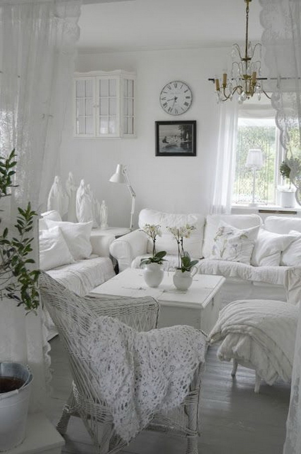 All White Shabby Chic Living Room.