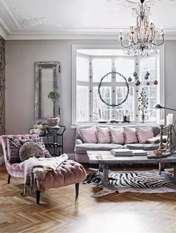 Living Room Decoration with Parisian Glamour Mixed with Rustic Shabby Chic Charm.