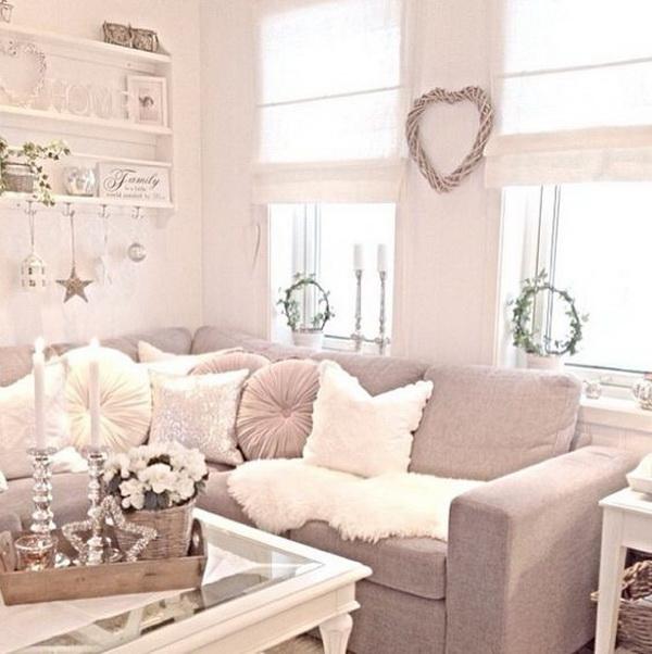 Cozy Cream Shabby Chic living room with Corner Sofa.