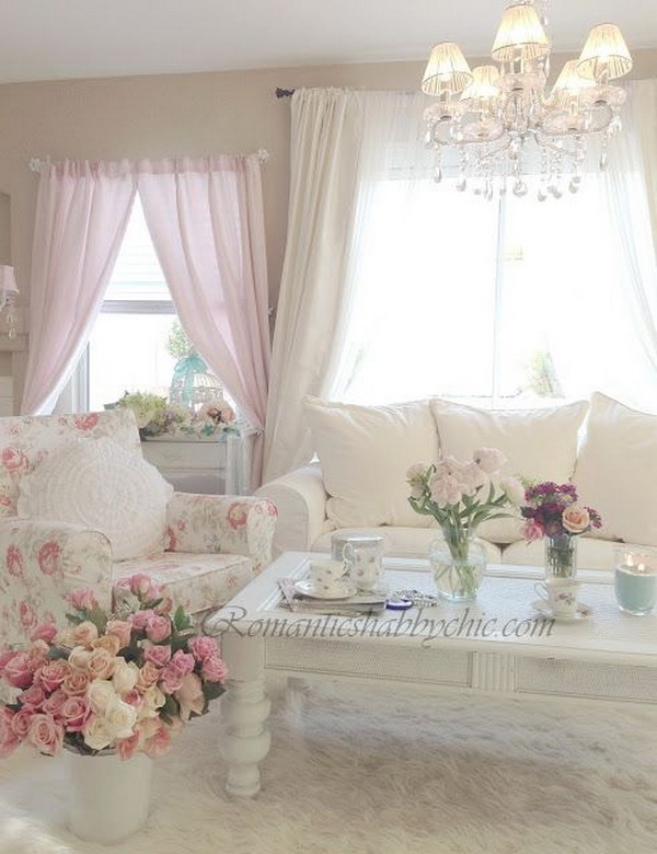 Romantic Shabby Chic Pink Living Room.
