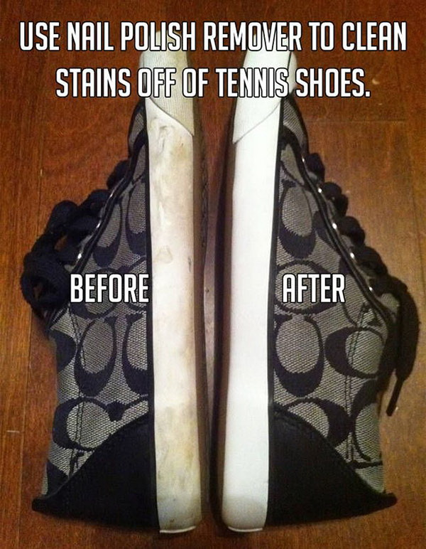Clean Stains off Sneakers Using Nail Polish Remover.