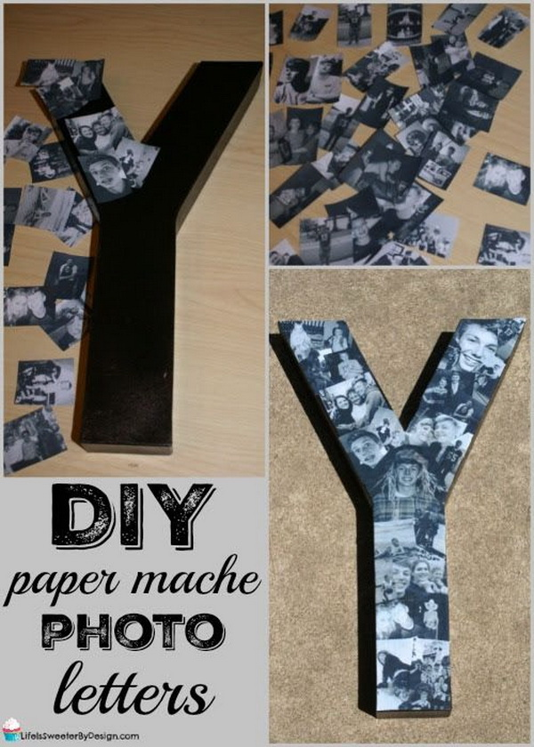 DIY Paper Mache Photo Letters. A Creative way to display your photos artistically with this paper mache photo letter idea!