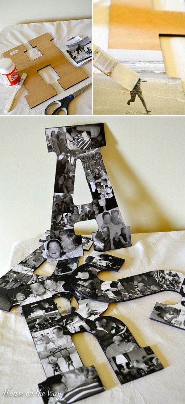 DIY Photo Collage Letters. Make a set of decorative letters out of the vintage photos in your computer. They will be great home decor pieces or serve as personalized gifts!