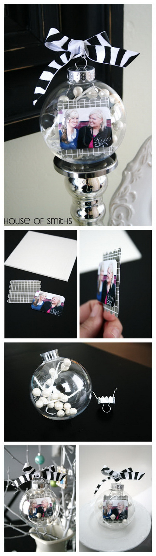 DIY Photo Ornaments. Personalize the plastic ornaments from the dollar store with berry stems and your favorite photos inside. This can also be a perfect gift for your loves ones.