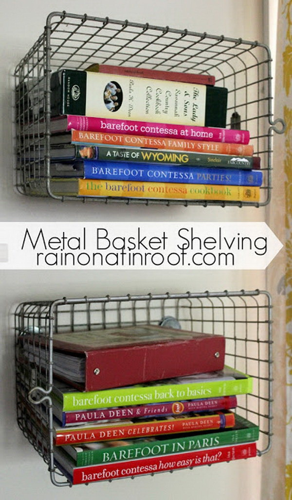 DIY Metal Basket Shelving. Turn old metal locker baskets into these functional & creative shelves.