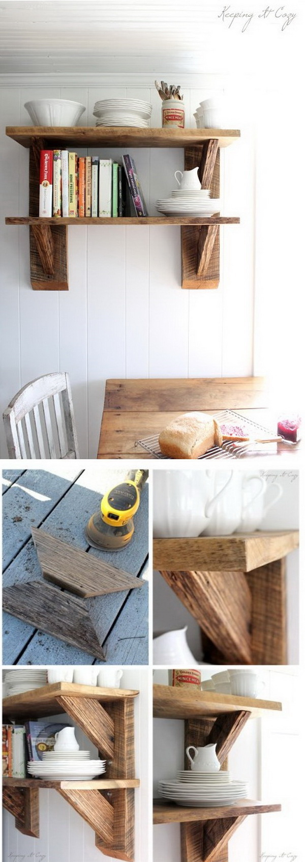 Reclaimed Wood Kitchen Shelves. Make a little shelving unit for one wall in your kitchen with some old barn wood. It not only provides extra storage but also looks great at your kitchen.