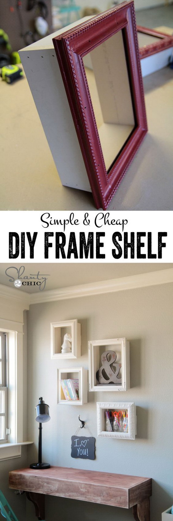 DIY Display Frame Shelves. Make DIY display shelves using cheap frames... So cute and easy!