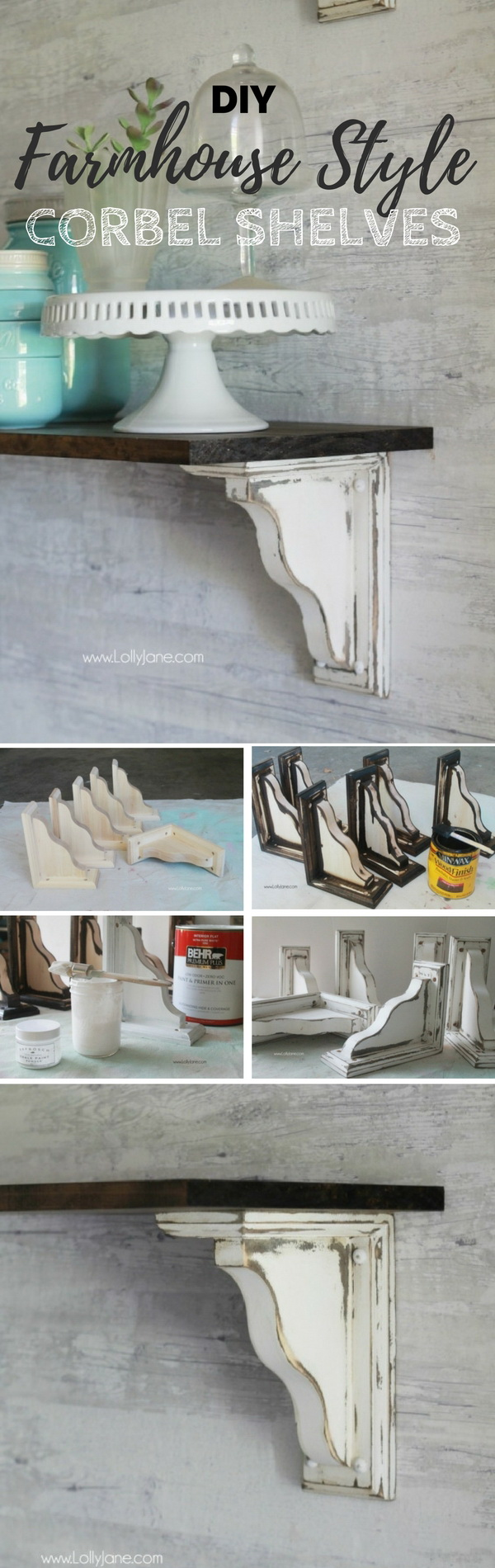 DIY Farmhouse Style Corner Shelves. Free DIY building plan for these easy and stylish corner shelves!