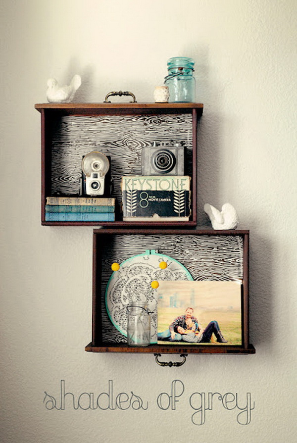 DIY Drawer Shelves. Free DIY building plan for these easy and stylish drawer shelves!