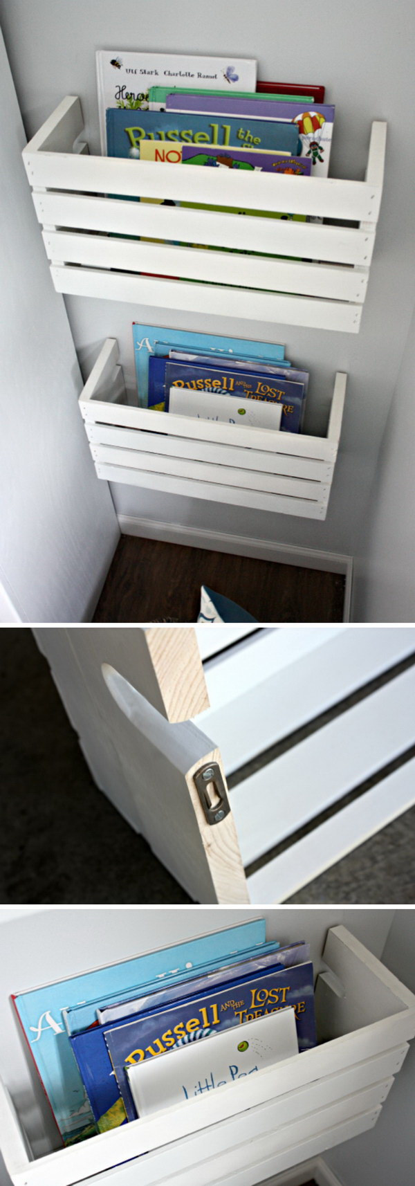 DIY Wood Crate Book Shelves. Paint these wooden crates in white! They are not only perfect for storing kids' books within their reach, but also serve as the great home decor piece!