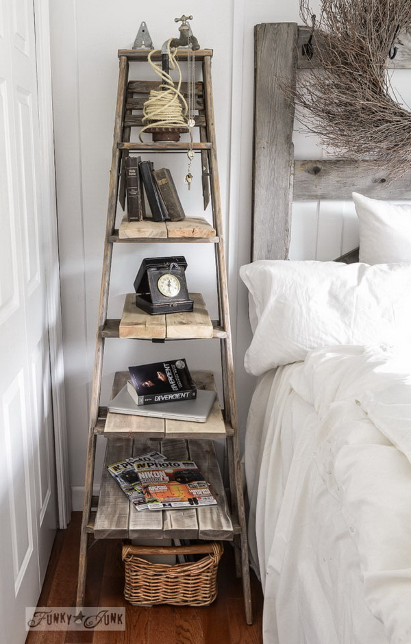Old Stepladder Shelf. This old stepladder shelf system can double as the bedroom side table! It also adds some rustic warm to your decor!