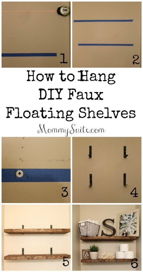 DIY Faux Floating Shelves. Another easy, inexpensive weekend DIY project for your home.